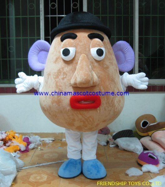Mrs Potato Head cartoon mascot costume