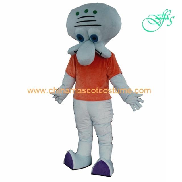 Squidward Tentacles Cartoon Mascot Costume