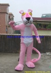 Pink leopard character mascot costume