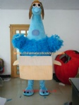 Blue bird in box fur mascot costume