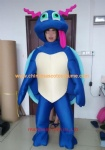Blue turtle cartoon mascot costume