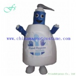 Hand soap cartoon mascot costume, hand soap bottle product costume
